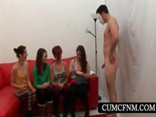 cfnm groupsex with girls giving handjob