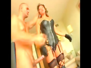 curly haired babe into leather likes cock