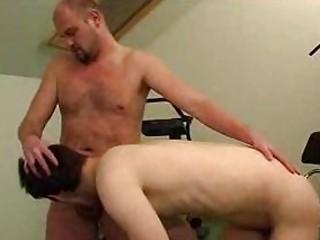 lean man licks bald hunks uneasy  libido into the