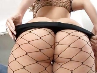 pleasing blonde albino into fishnet nylons