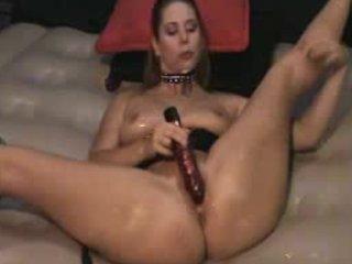 horny brunette device spanking gushing vagina