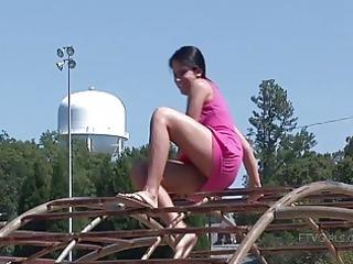 locern angelic brunette teen open-air flashing
