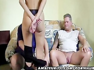 naughty german girlfriend sucks 2 dicks and eats