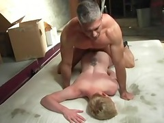 daddy bareback on mat in garage