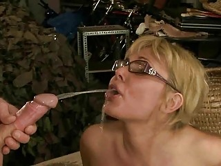 granny guy drilling and pissing on older  belle
