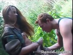 insane shemale sucking a libido outside