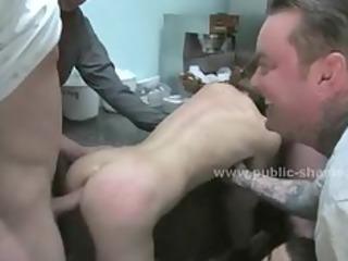 men bitch inside fast food spanking the slave