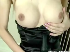 naughty ladyboy stripteases later touches herself