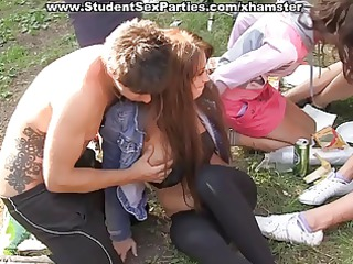 student sex at outdoor party into a tent