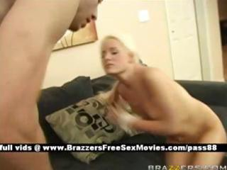 awesome bleached chick on the sofa takes her