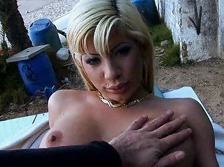 desperate blond with drilled nipple takes slammed