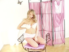 desperate blonde lingerie play in sheer nylons