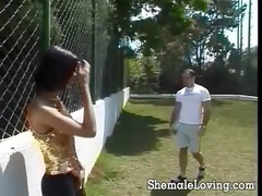 shemale gets banged uneasy and jizzed on
