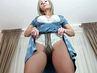 horny blond older  into dark nylons enjoys and