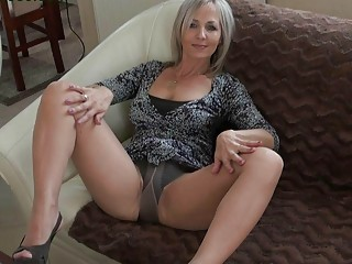 handsome blond momma into nylons does striptease