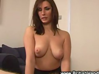 brunette go naked plays before giving handjob
