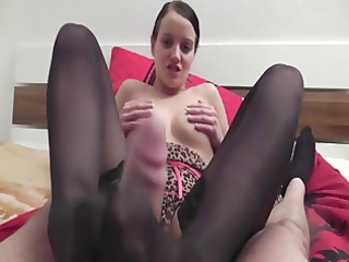great pov footjob into dark stockings
