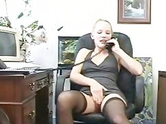 assistant into a tiny dress and pantyhose upskirt