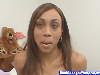 College Ebony Awesome Blowjob And Handjob
