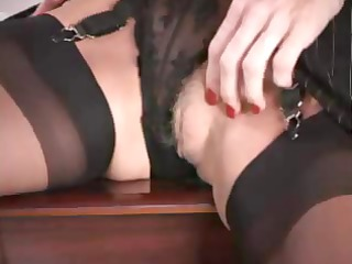 cougar angel with giant silicone tits pushing