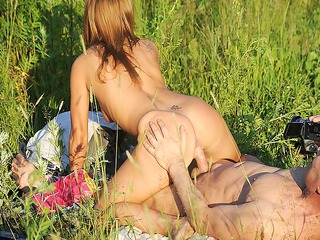 sexually lewd redhead undresses in public and