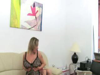 grownup belle fucking on leather armchair