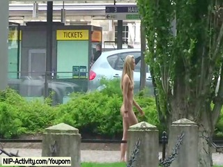 awesome open-air nudity with albino cutie celine