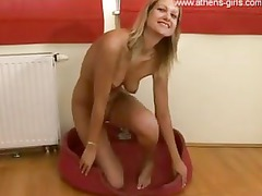 albino lady teases during pissed on