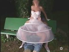 the bride into stockings al fresco