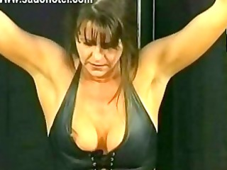 gorgeous slave with giant chest and her hands