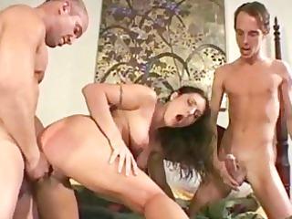 brunette girl own double penetration