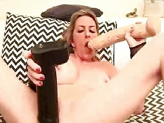 extreme lady gangbangs herself with a champagne