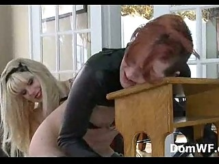 bound ginger into leather straight jacket spanked