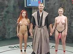 nude wrestling loser gets strapon fucked!