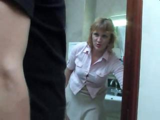 older  lady acquires a piss on the toilet and